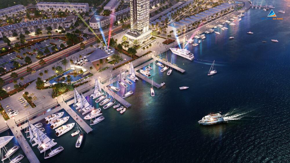 Phối cảnh về đêm bến du thuyền Marina Complex