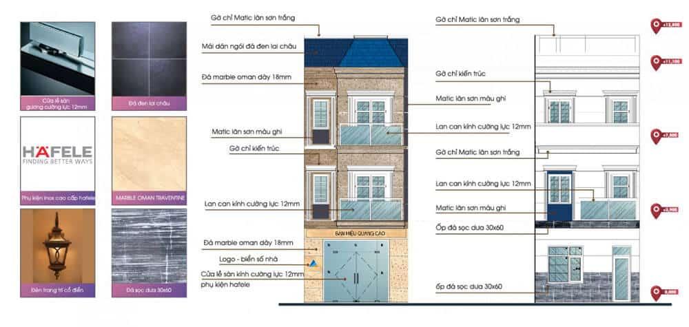 Mặt ngoài căn nhà được hoàn thiện chi tiết và sử dụng dụng các vật liệu nhập khẩu cao cấp