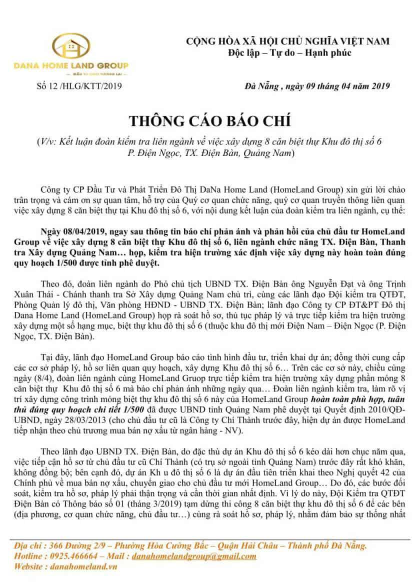 Homeland Group Thong Cao Bao Chi Ve Viec Xay Dung 8 Can Biet Thu Tai Khu Do Thi So 6 1